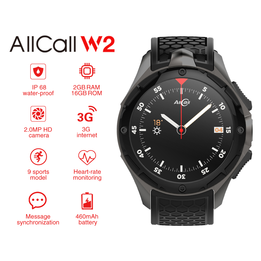 ALLCALL W2 Smartwatch Phone Android 7.0 IP68 waterproof Smart watch MTK6580 Quad Core 1.3GHz GPS Bluetooth clock with pedometer