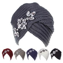 61b64ab156920 XDOMI New Fashion Women Knitting Beanies Caps Ladies Crystal Diamonds Accessory  Winter Hats Girls Casual Warm