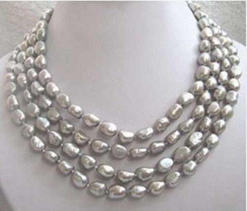 FRETE GRÁTIS >>>>> >>> venda Hot new Style Longo 8-9 MM cinza pérola de água doce barroca colar
