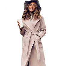 MVGIRLRU elegant Long Women's coat lapel 2 pockets belted Jackets solid color