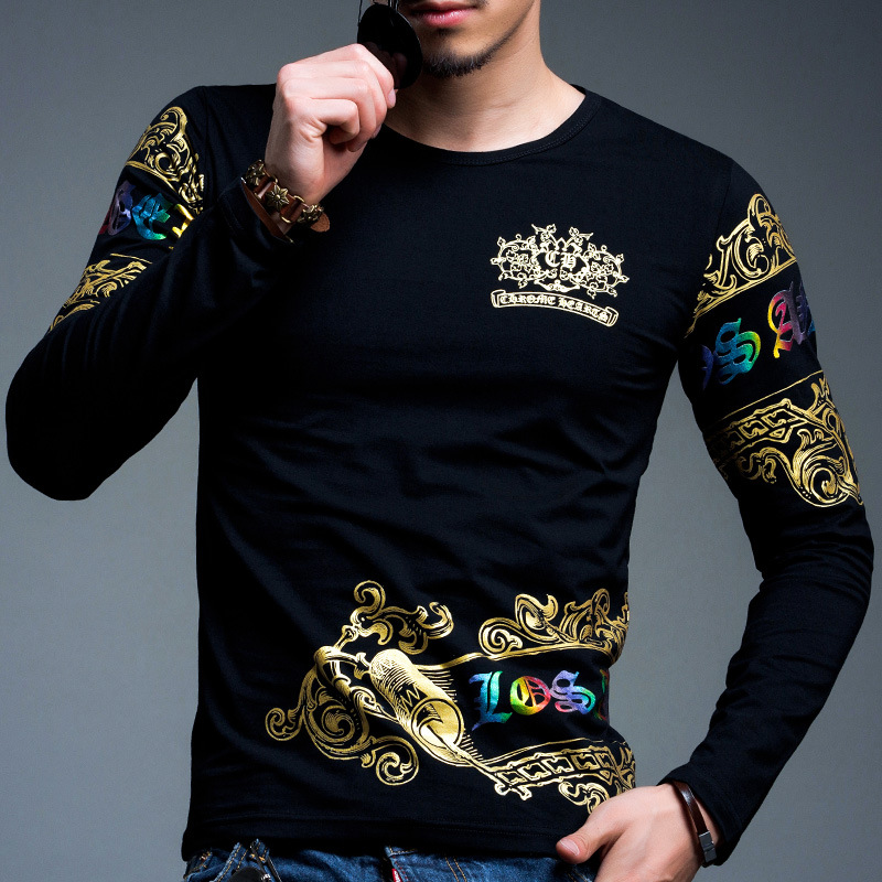Us 16 9 Mens T Shirts Fashion 2016 Spring Gold Foil Printing Cotton Men T Shirt Long Sleeve Xxxxl 3353 In T Shirts From Men S Clothing On