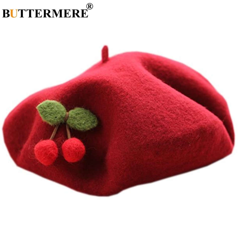 BUTTERMERE Cherry Wool Beret Lolita Womens Japanese Female Handmade Felt Painter Cap Ladies Spring Autumn French Artist