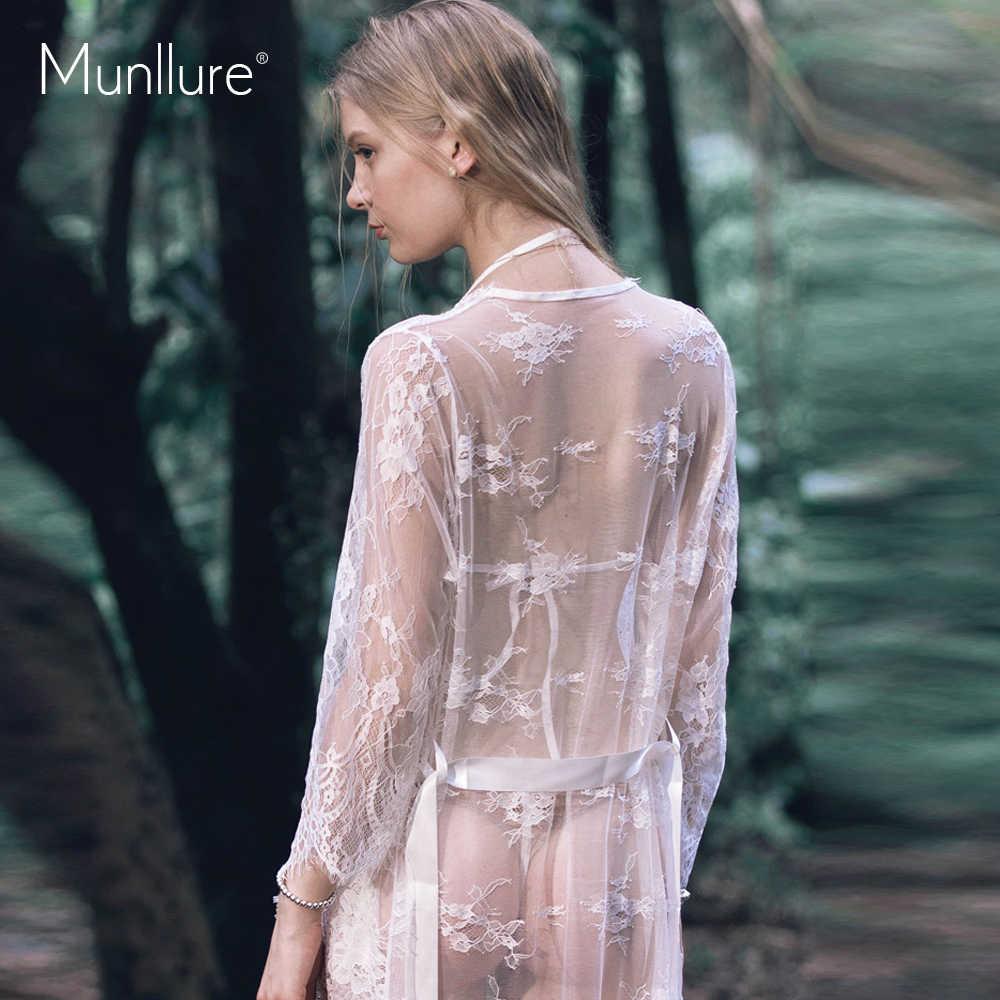 Munllure パジャマ女性のセクシーなネグリジェプラスサイズのレース透明ネグリジェパジャマ長袖長スカートホームスーツ