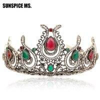 Romantische Haar Königin Krone Türkische Frauen Vintage Tiaras Antike Goldfarbe Haarband Rot Harz Blume Hochzeit Stirnband Geschenk