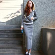 2016 Sexy Women Sets Casual Pencil Skirt Split Wrapped Hip Skirts Bodycon Skirts and Hooded Slim Top Coat Tracksuit Spring