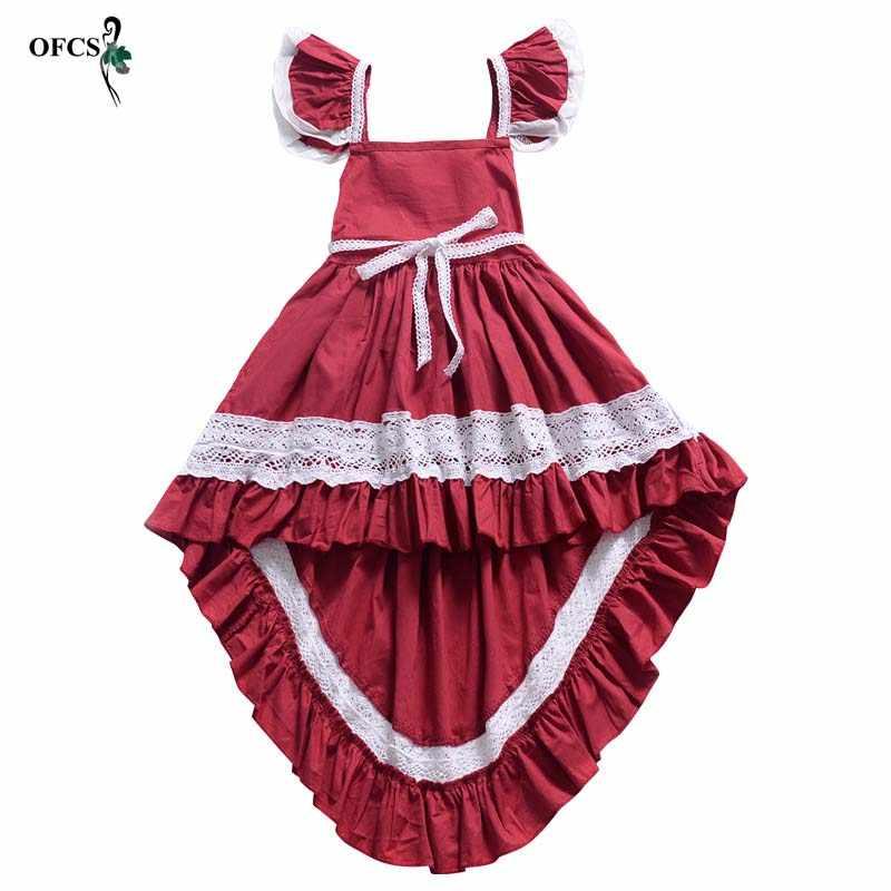 Ropa Para Niños Niñas Manga De Mosca Encaje Algodón Espalda Hueca Vestido De Esmoquin Irregular Para Bebé Niña Vestidos De Primavera Para Las