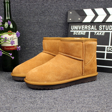 Women Boots Winter 2017 Round Toe Ankle Flats Cow-Suede Genuine Leather Snow Boots Warm Plush High Quality Faux Fur Boots Shoes