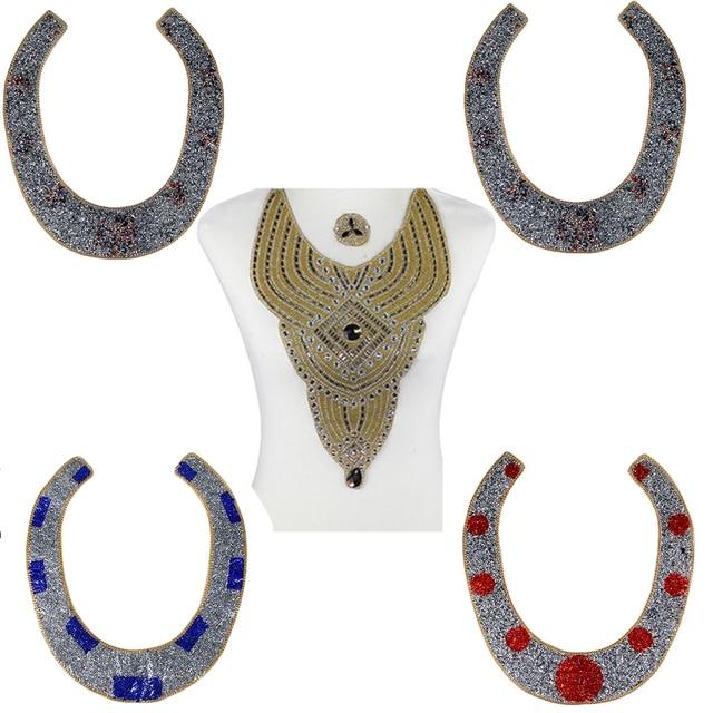 1pc Big Luxurious Hot Fix Rhinestones Neckline Bead Diamond Motifs Collar Iron on Appliques Clothes Patches Accessories T2663