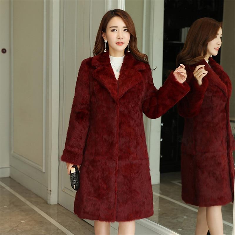 90 cm Long Plus Size S - 7XL Natural Rabbit Fur Coats Outerwear Women Turn Down Collar Real Fur Jackets for Autumn Winter 2019