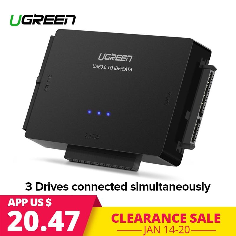 "Ugreen USB 3.0 на sata ide конвертер для 2.5 ""3.5"" жесткий диск HDD SSD CD Встроенная память адаптер IDE/SATA на USB 2.0 SATA Кабель-адаптер"