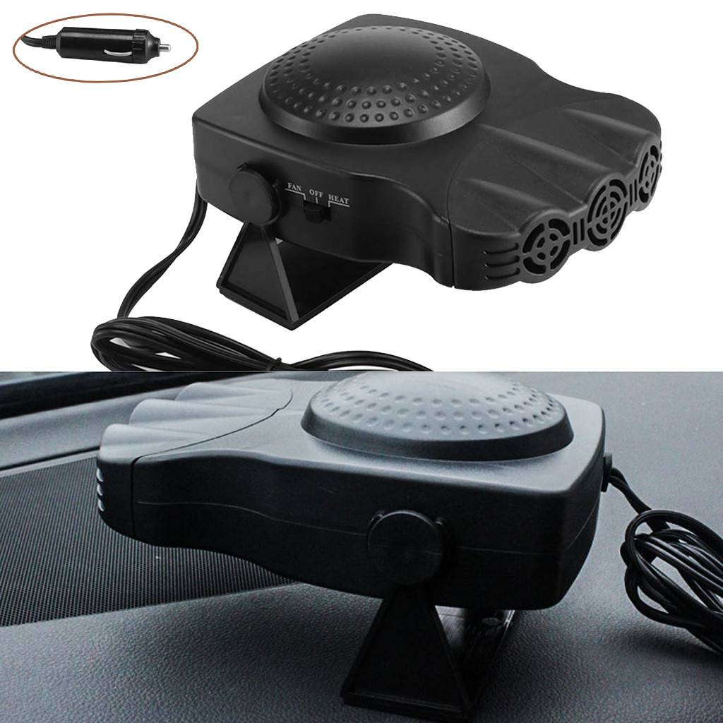 Portable Car Heater Cooling Fan 3-Outlet Defrosts Defogger 12V 150W