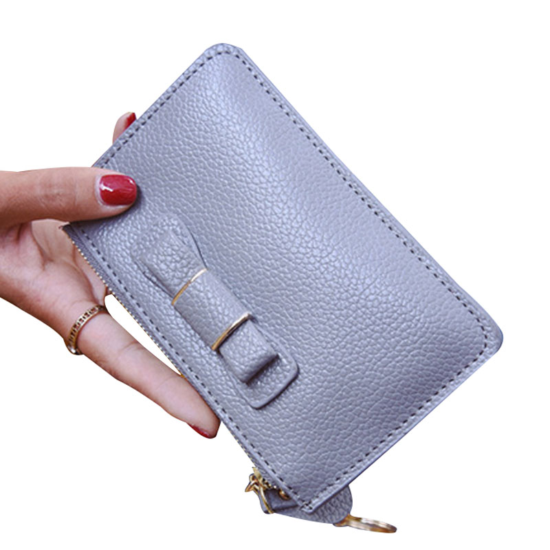 Fashion Women Solid Short Wallet Zipper Card Holder Money Bowknot Bag Purse Wallets Female Portable Clutch Purses 2016 sep women wallets zipper short purse clutch coin bag cat wallet women card holder purses carteiras brand women bag
