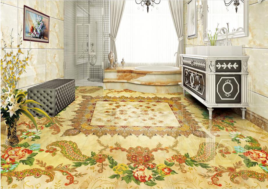 ФОТО waterproof floor self-adhesive wallpaper custom 3d floor murals Continental Stone pattern bathroom vinyl flooring adhesives