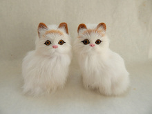 a pair of cute simulation cat toys polyethylene & furs sitting yellow head cat dolls gift about 7x5x11cm