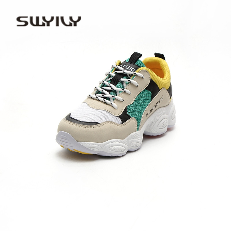 SWYIVY Chaussure Femme PU Platform Sneakers Women Shoes 2019 New Autumn Wedges Shoes For Women Casual Shoes Female Shallow
