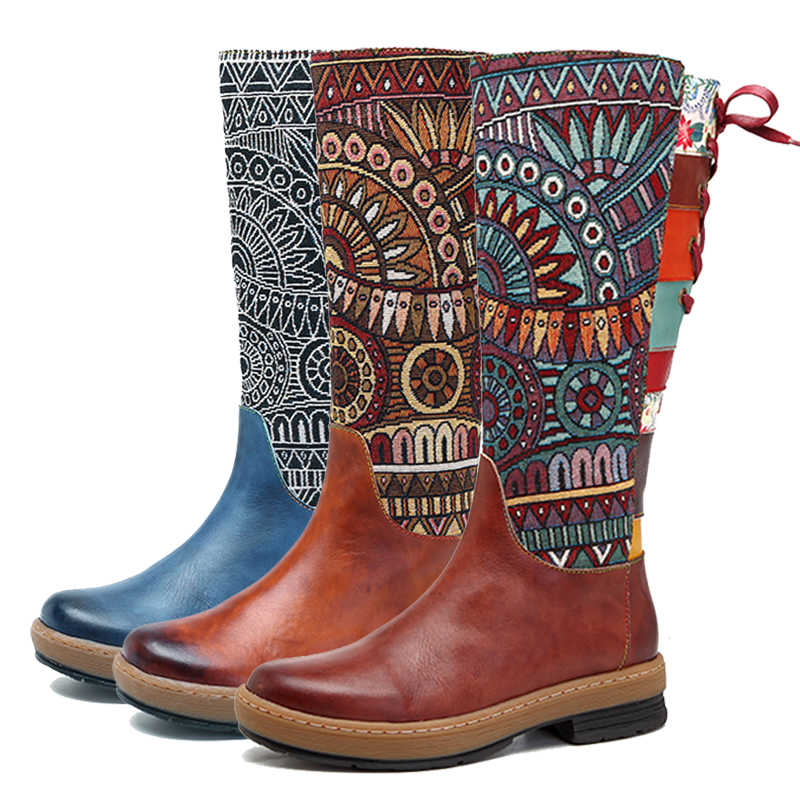 Prova Perfetto ผู้หญิงกลางลูกวัวรองเท้าบูทวินเทจ Retro รองเท้าหนัง Bohemian พิมพ์ Patchwork Zipper ลูกไม้ขึ้นรองเท้าคาวบอย