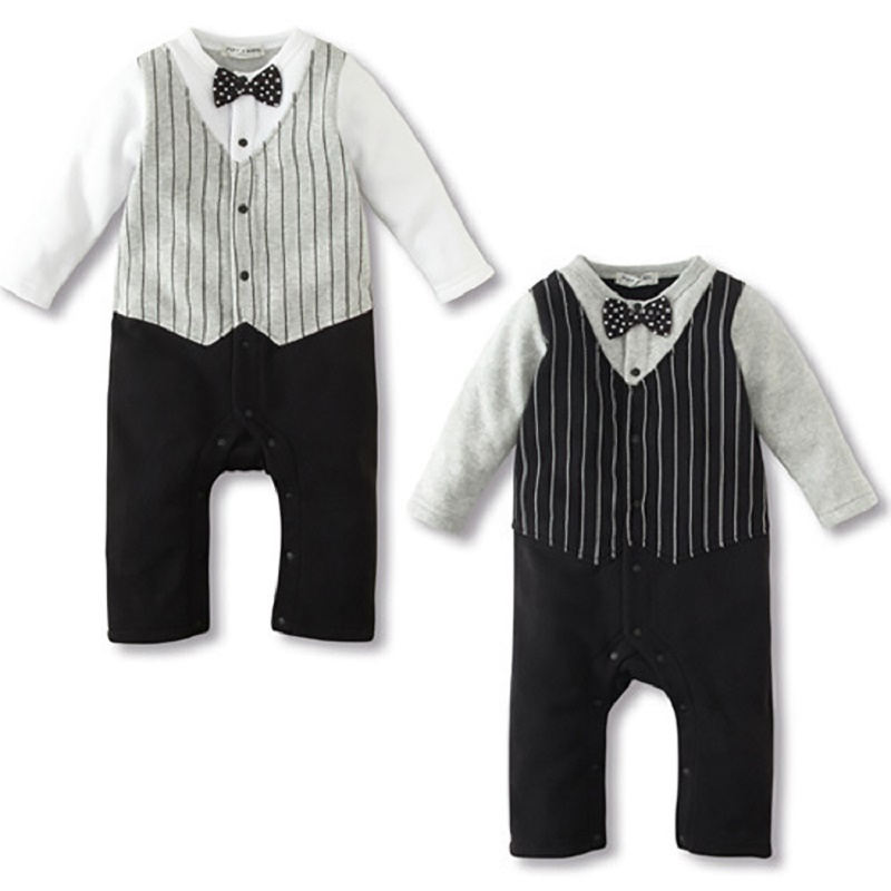 39ff3376a65e ᗗ2016 Newborn Spring striped gentleman baby Romper Long sleeves ...