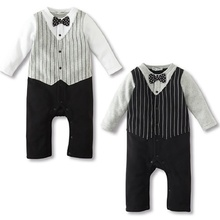 2016 Newborn Spring striped gentleman baby Romper Long sleeves Infant jumpsuit climbing clothing bow tie male baby boys clothes
