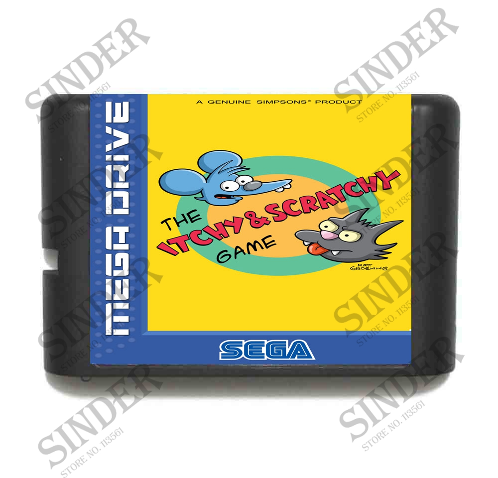 The Itchy & Scratchy 16 bit MD Game Card For Sega Mega Drive For Genesis