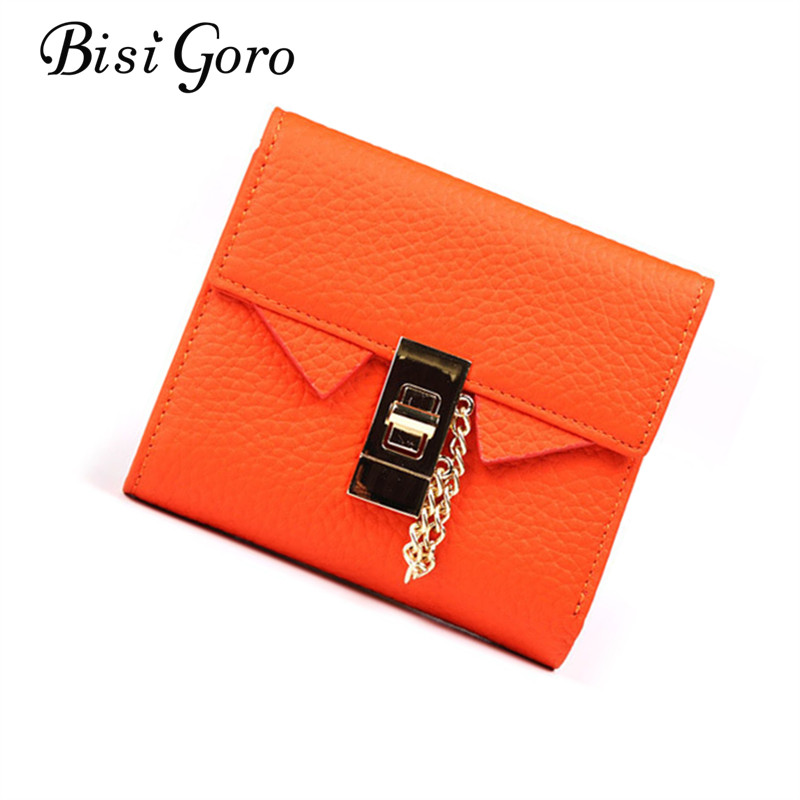 BISI GORO Women Mini Wallets Genuine Leather Clutch Wallet Purse Money Coin Card Holder Short Girls Pink Wallet Women Card Purse
