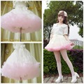 Princess sweet lolita skirts Soft yarn heavy petticoat voile mesh loli cos mini solid Ball Gown princess skirts ribbon bow CQ04