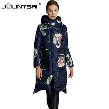 2016 Winter Women Long Down Jacket Fashion Coat Women Floral Coats Plus Size White Duck Down Hooded Pocket Natural Outerwear