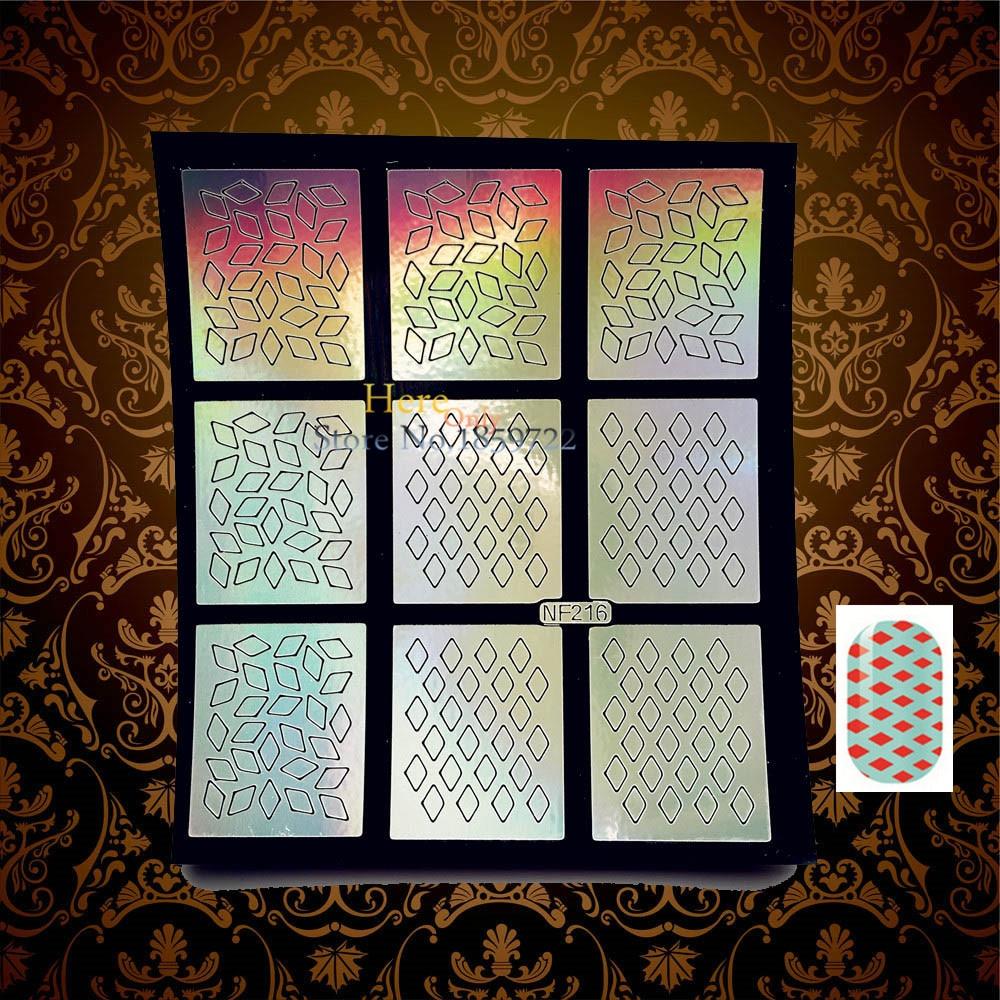 1PC HOT Thin Nail Sticker Templates Paper Airbrush Glitter Nail Decal HNF216 Manicure Art Sticker Gem