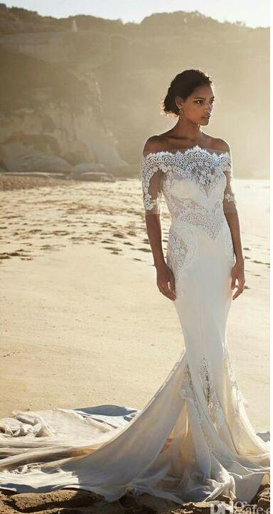 c86bc7f423597 Pallas Couture 2016 New Fashion Off shoulder Beach Sheath Wedding Dresses  with Sleeves Amazing Lace Cheap Wedding Gown 2017-in Wedding Dresses from  Weddings ...