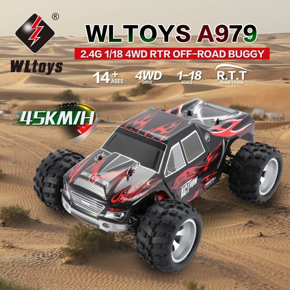 WLtoys A979 2.4GHz 1/18 Full Proportional rc Car 4WD Vehicle 45KM/h Brushed Motor Electric RTR Off-road Buggy rc Cars GiftWLtoys A979 2.4GHz 1/18 Full Proportional rc Car 4WD Vehicle 45KM/h Brushed Motor Electric RTR Off-road Buggy rc Cars Gift