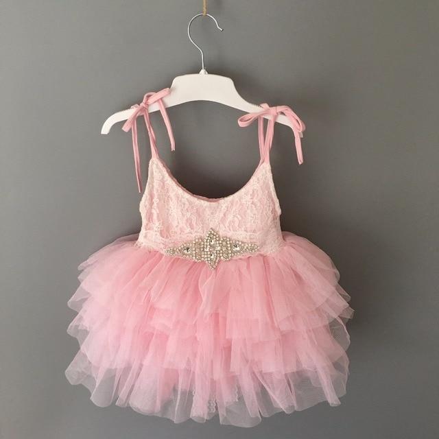 ecbc6c80d3dc9 US $17.51 12% OFF|Elegant baby girl rustic lace sling dress children kids  princess birthday dress rhinestone sashes tutu dress toddler party gown -in  ...