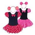 Hot Pink/Vermelho Ano Novo Do Bebê Dos Miúdos Da Menina Da Criança de Manga Curta Minnie Mouse Vestido Tutu Headband Traje Vestido de Festa de Aniversário para 1-9Y