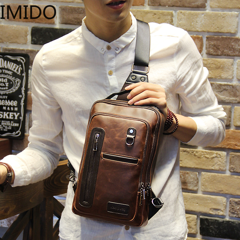 IMIDO New Crazy Horse PU Leather Men Backpack Vintage Male Students School Fashion Man One Shoulder Backpack Chest Brown VintageIMIDO New Crazy Horse PU Leather Men Backpack Vintage Male Students School Fashion Man One Shoulder Backpack Chest Brown Vintage