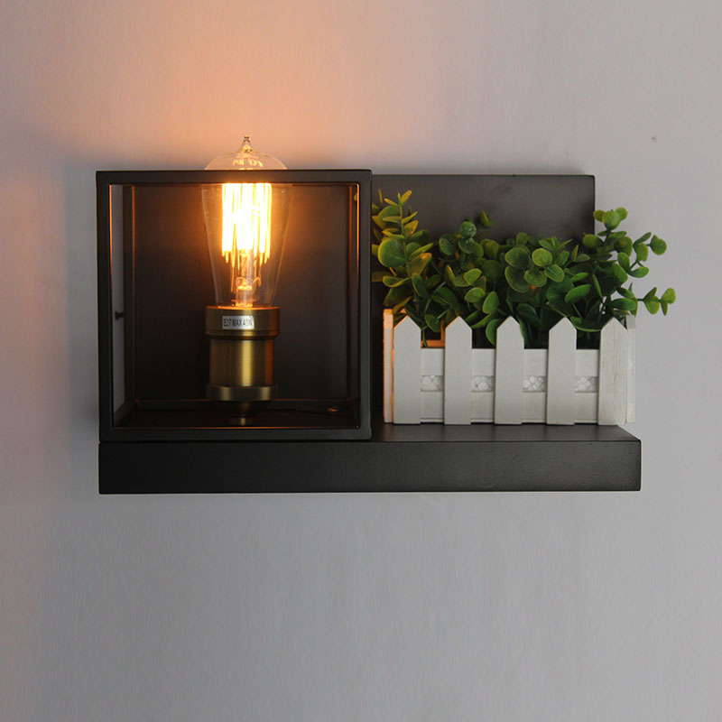 Designer American Creative Aisle Staircase Bedside Wood Wall Lamp Industrial Wind Retro Cafe Wrought Iron Frame Light Fixture