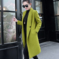 Spring and Autumn Womens Outwear 2016 Korean Fashion Solid Color Medium-long Wool Jacket Coat Long Sleeve Female Overcoat