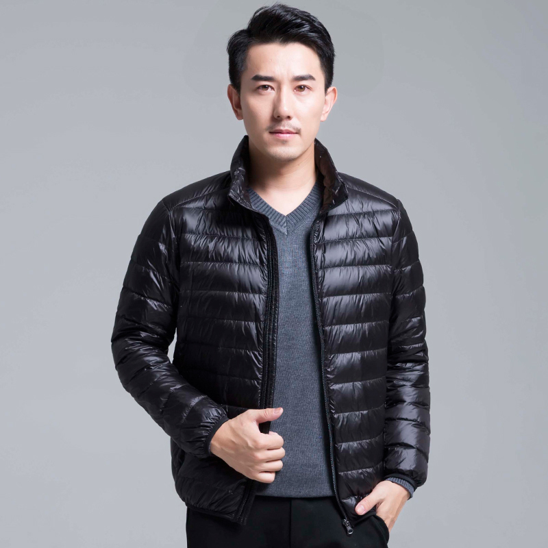 Casual men's   down   jacket Autumn Winter mens slim Standing collar&hooded White duck   down     coat   male Solid color warm outwear Top