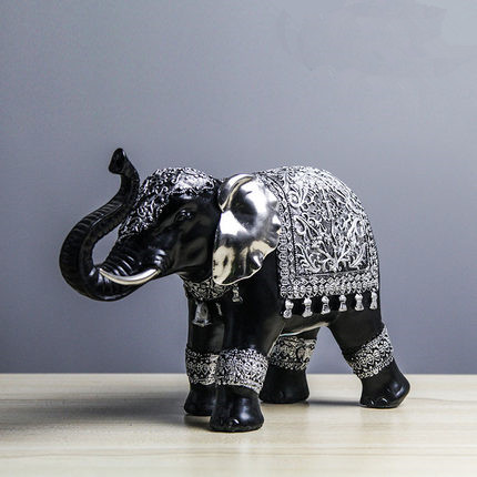 Handmade small vintage lucky elephant decoration home decoration polyresin craft black resin Silver elephant home decor