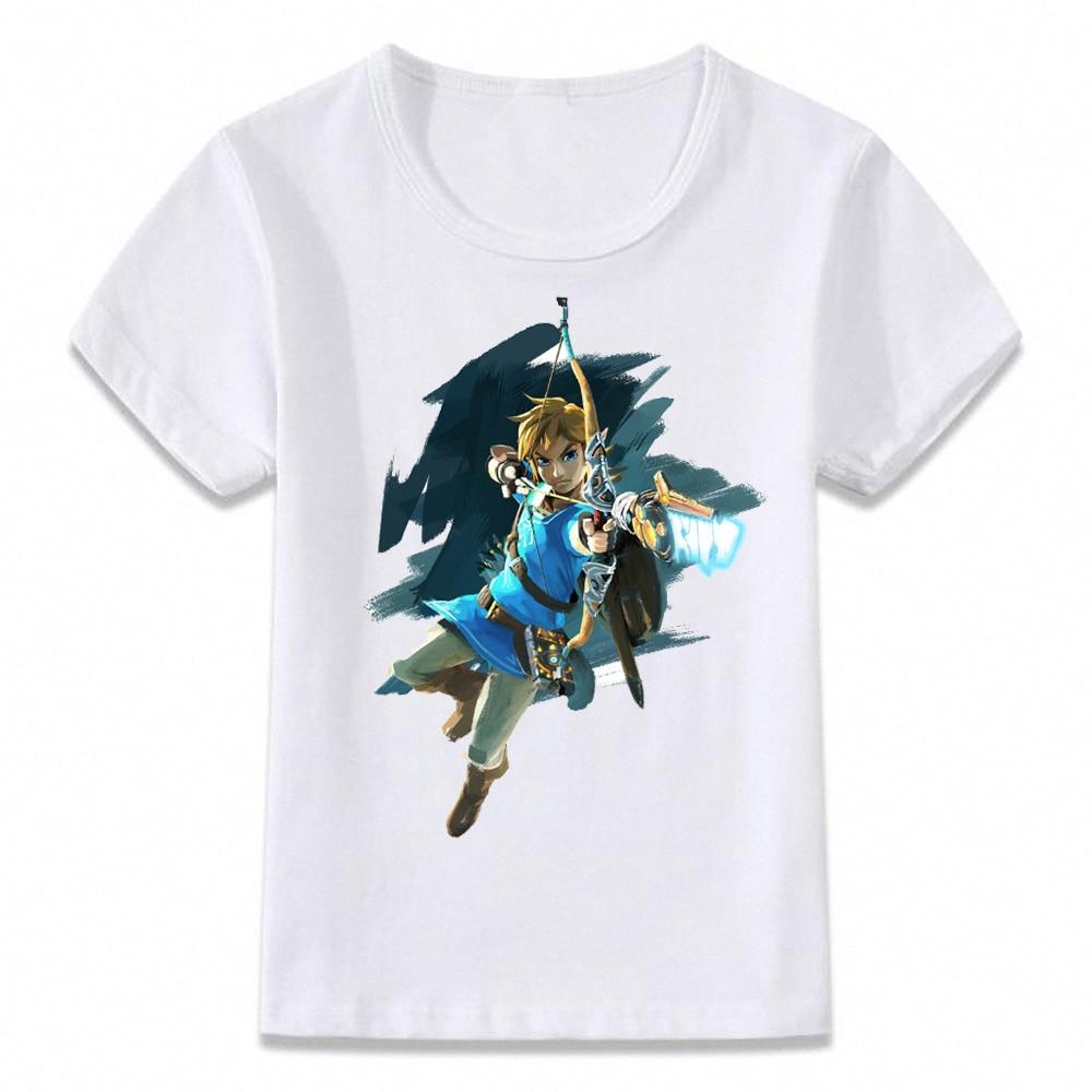 Детская одежда футболка туника с надписью «Breathing of The Wild Link» Zelda, Детская футболка для мальчиков и девочек, рубашки для малышей, футболка oal090