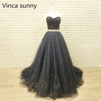 Navy Blue Tulle Evening Dresses Real Photos Crystal Belt Sparkly Evening Gown Robe De Soiree 2018