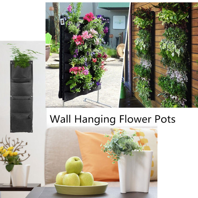 decorative indoor wallmounted fabric polyester hanging 4 pockets large plants wall flower pot holder