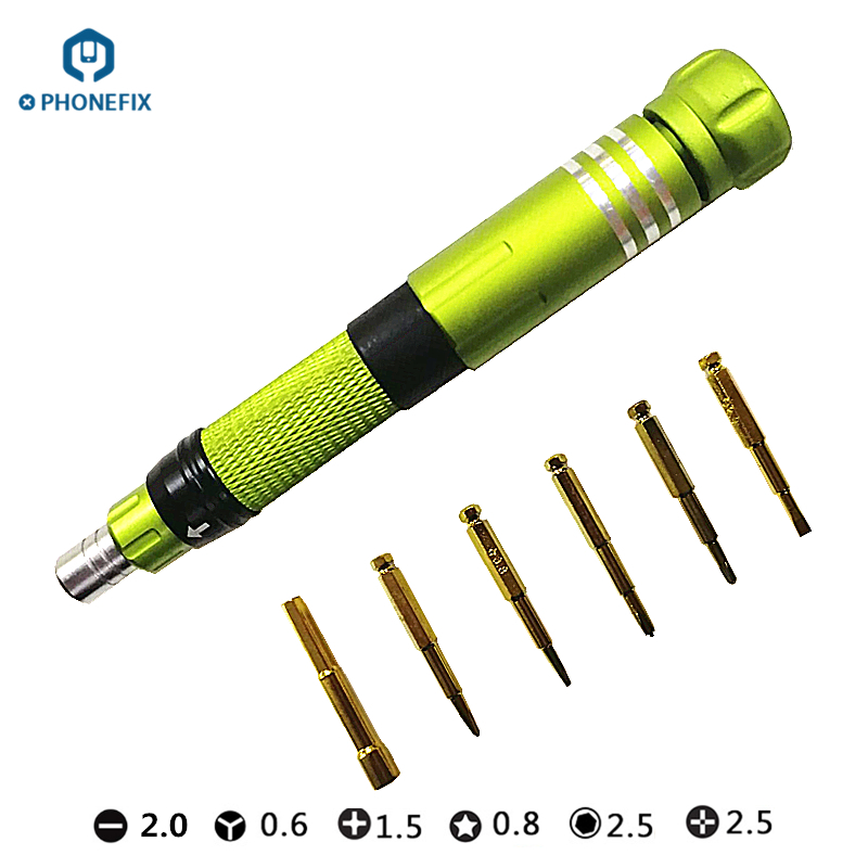 PHONEFIX 6 In 1 Multi-Function Screwdriver Set Mobile Phone DIY Opening Repair Screwdrivers Kit for iPhone Android Repair Kit image