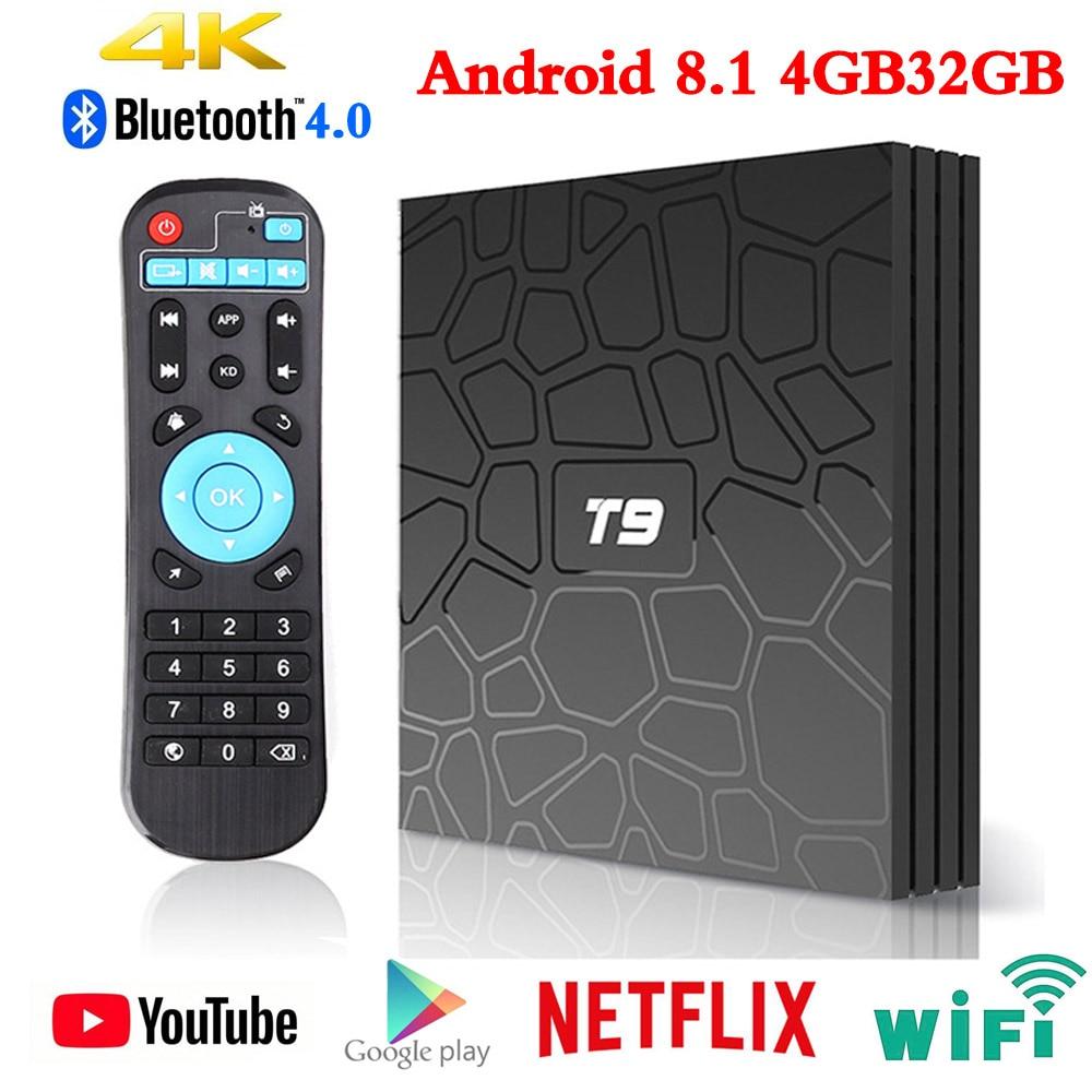 T9 TV BOX Android 8.1 Rockchip RK3328 4 GB 64 GB 1080 P H.265 4 K 60fps Google Player Store Netflix Youtube PK H96 Max Smart TV BOX