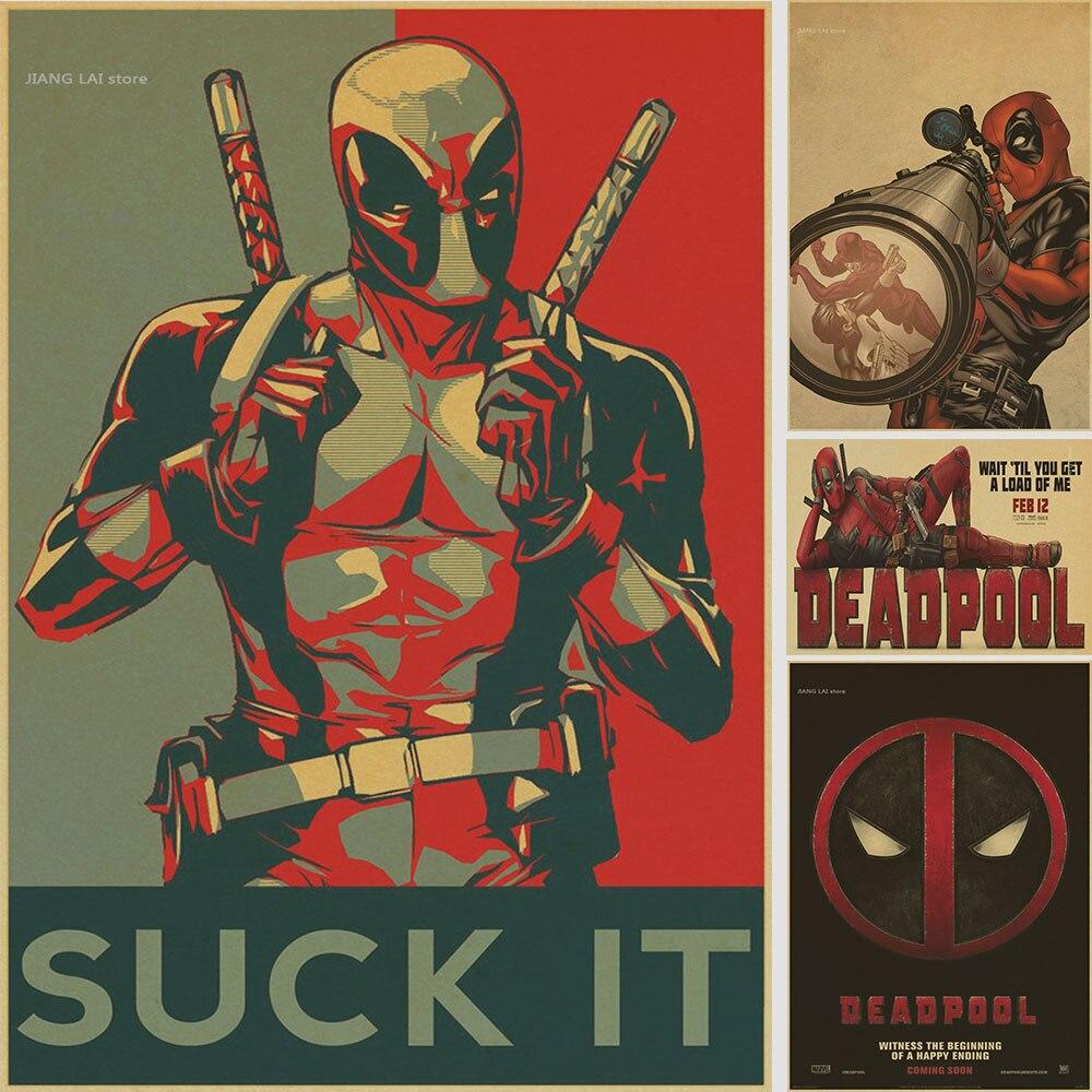 Vintage cartel de Marvel deadpool póster pegatinas de pared para niños habitaciones pegatinas de pared de superhéroes pegatinas de superhéroes