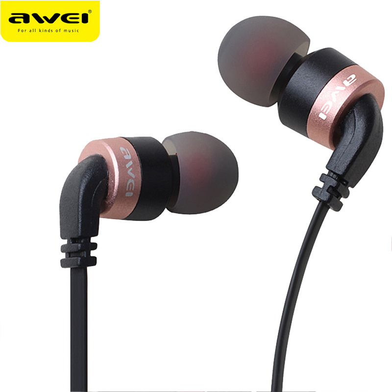 Awei ES-30TY Full Metal Earphones Stereo Super Bass Headset Headphone For Phone With Mic Fone de ouvido Auriculares each g1100 shake e sports gaming mic led light headset headphone casque with 7 1 heavy bass surround sound for pc gamer