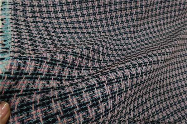 free ship pink black houndstooth weaved COTTON and viscose tweed fabric by meter 59 wide