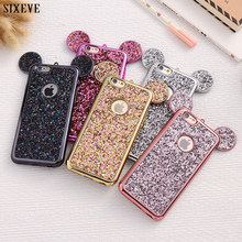 Luksusowe Cartoon animacja 3D uszy miękkie etui na telefon do iPhone XS Max X XR 5 5S SE 6 S 6 s 7 8 6 Plus 7 Plus 8 Plus Bling Glitter pokrywa(China)