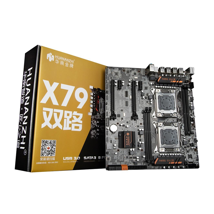 X79 dual CPU motherboard LGA 2011 E-ATX USB3.0 SATA3 PCI-E  NVME with dual Xeon processor Воск