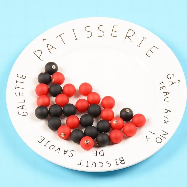 15 мм 10 шт Красные/черные свободные силиконовые бусины Круглые
