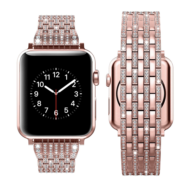 Di lusso Del Diamante Del Rhinestone Della Cinghia per apple watch 44mm 42mm 40mm 38mm In Acciaio Inox In Metallo Per iWatch serie 1 2 3 4