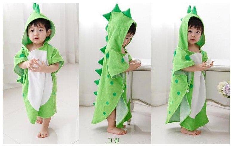 Пончо с капюшоном и лапой динозавра/детское банное полотенце с капюшоном/Детские пляжные полотенца/Детские пончо - Цвет: Green 115x55cm