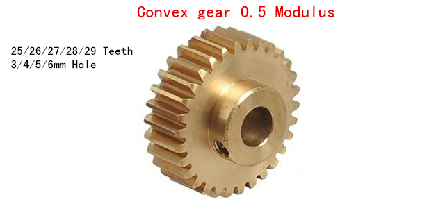 Copper Convex gear 0.<font><b>5</b></font> Modulus 25/26/<font><b>27</b></font>/28/<font><b>29</b></font> Teeth micro motor Gear metal model 3/4/<font><b>5</b></font>/6mm Hole image
